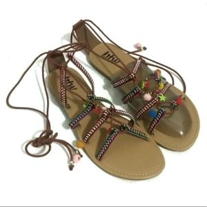 BTW By The Way Tassel Charm Lace Up Sandals